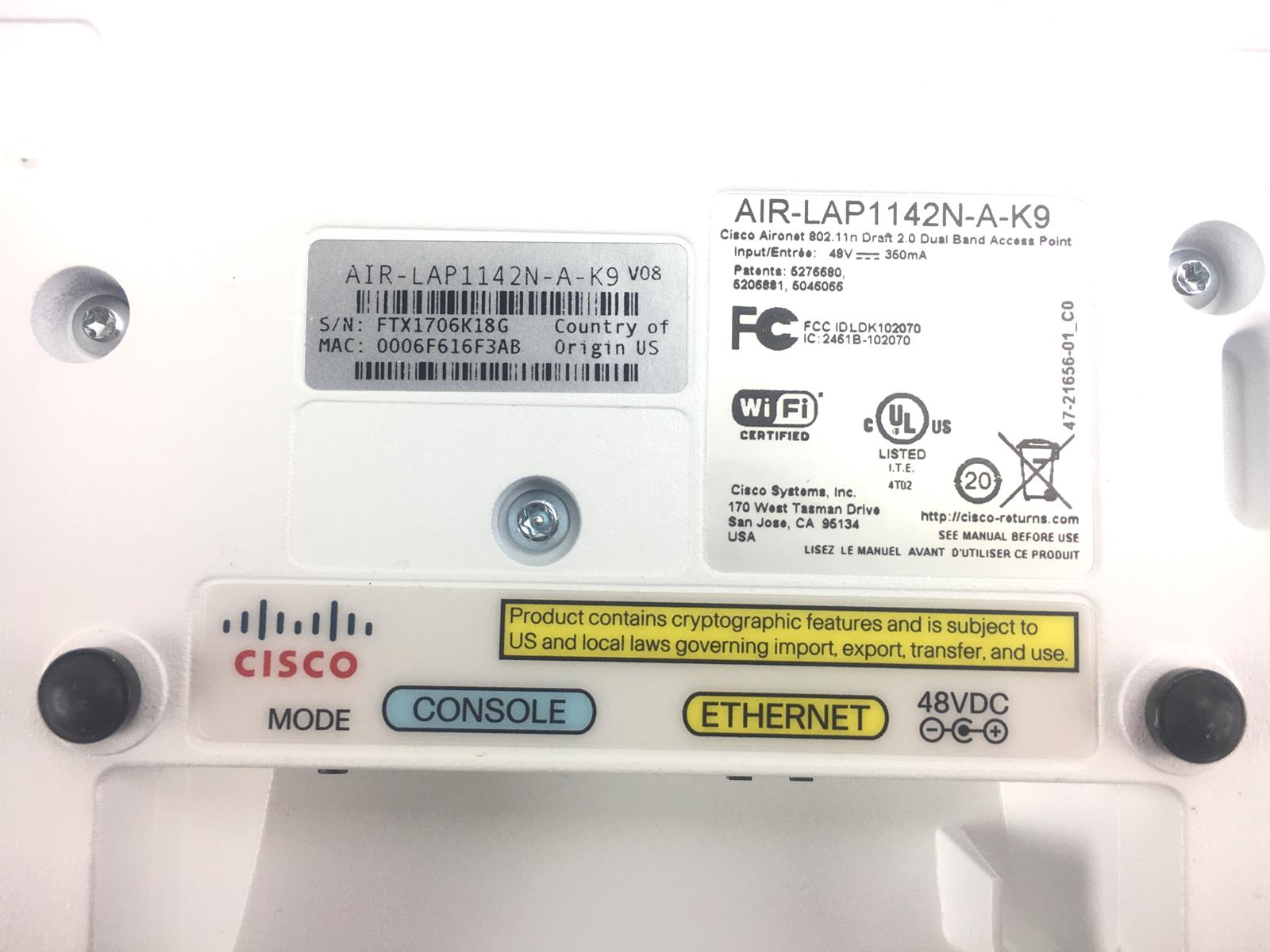 Details about Cisco AIR-LAP1142N-A-K9 Aironet 1140 Wireless Access Point -  Lightweight Mode